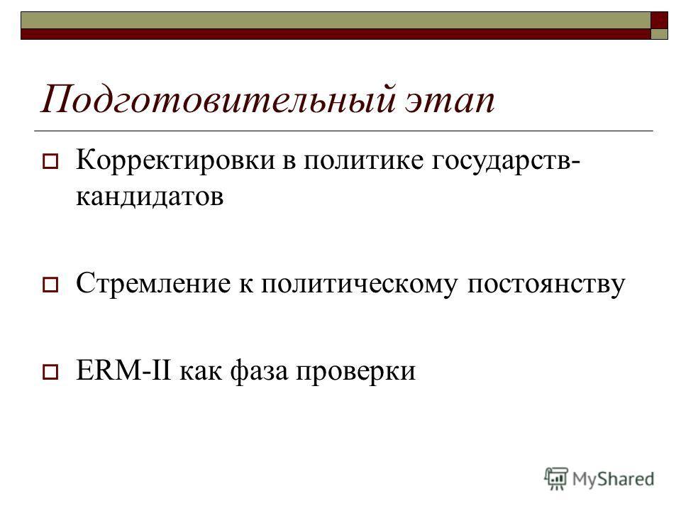 Подготовительный этап Корректировки в политике государств- кандидатов Стремление к политическому постоянству ERM-II как фаза проверки