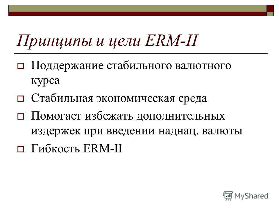 Принципы и цели ERM-II Поддержание стабильного валютного курса Стабильная экономическая среда Помогает избежать дополнительных издержек при введении наднац. валюты Гибкость ERM-II