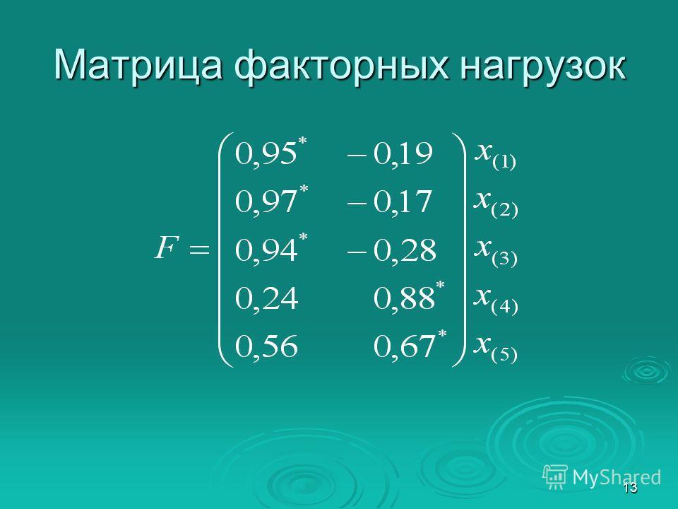 13 Матрица факторных нагрузок