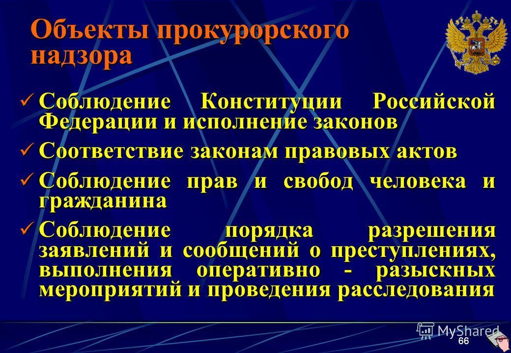 66 Соблюдение Конституции Российской Федерации и исполнение законов Соблюдение Конституции Российской Федерации и исполнение законов Соответствие законам правовых актов Соответствие законам правовых актов Соблюдение прав и свобод человека и гражданин