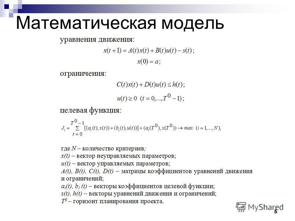 5 Математическая модель
