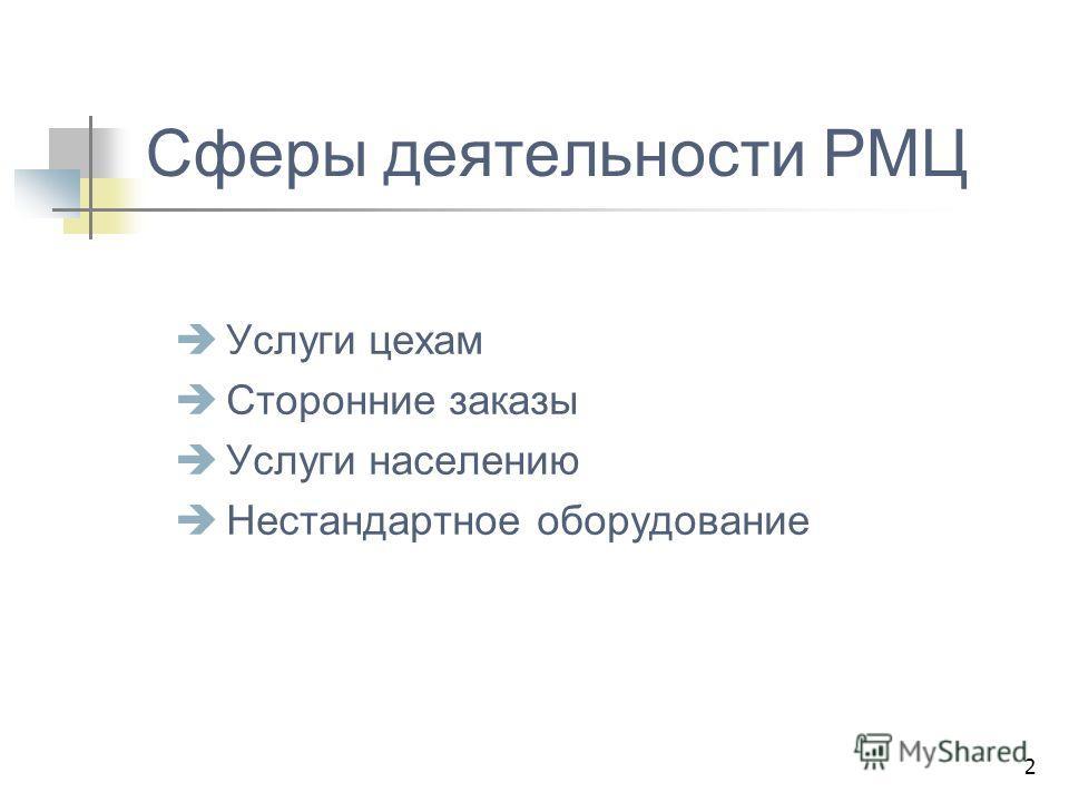 2 Сферы деятельности РМЦ Услуги цехам Сторонние заказы Услуги населению Нестандартное оборудование