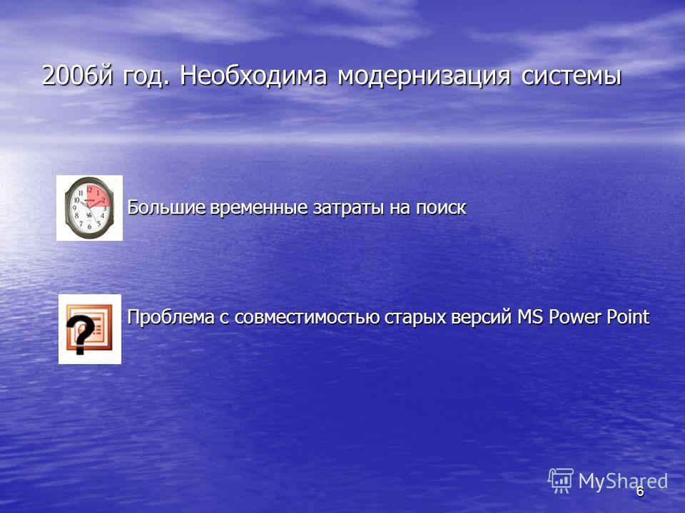 6 2006й год. Необходима модернизация системы Большие временные затраты на поиск Большие временные затраты на поиск Проблема с совместимостью старых версий MS Power Point Проблема с совместимостью старых версий MS Power Point