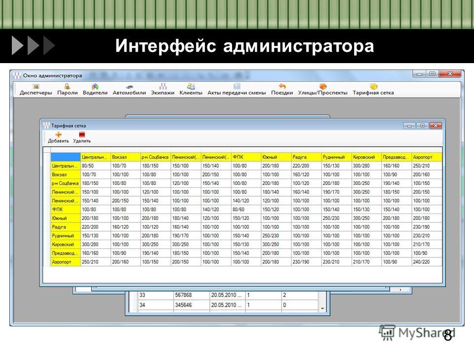 Интерфейс администратора 8