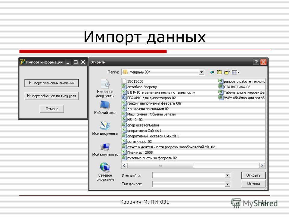 Каранин М. ПИ-03111 Импорт данных