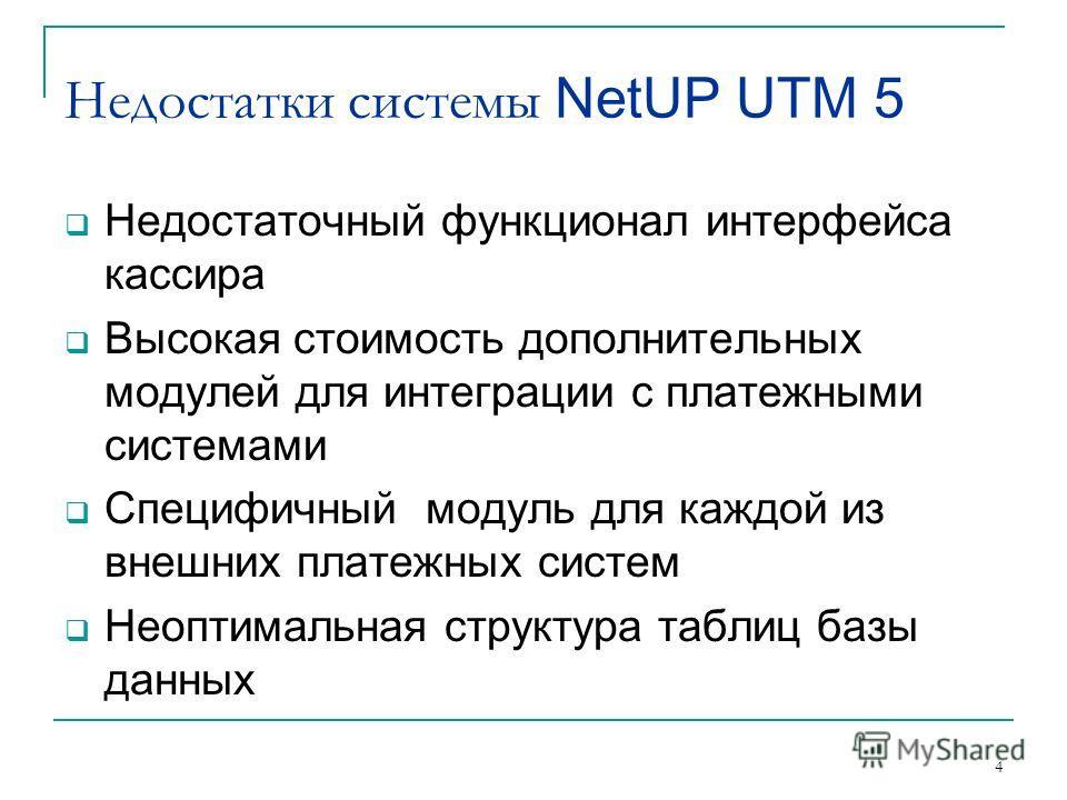 4 Недостатки системы NetUP UTM 5 Недостаточный функционал интерфейса кассира Высокая стоимость дополнительных модулей для интеграции с платежными системами Специфичный модуль для каждой из внешних платежных систем Неоптимальная структура таблиц базы