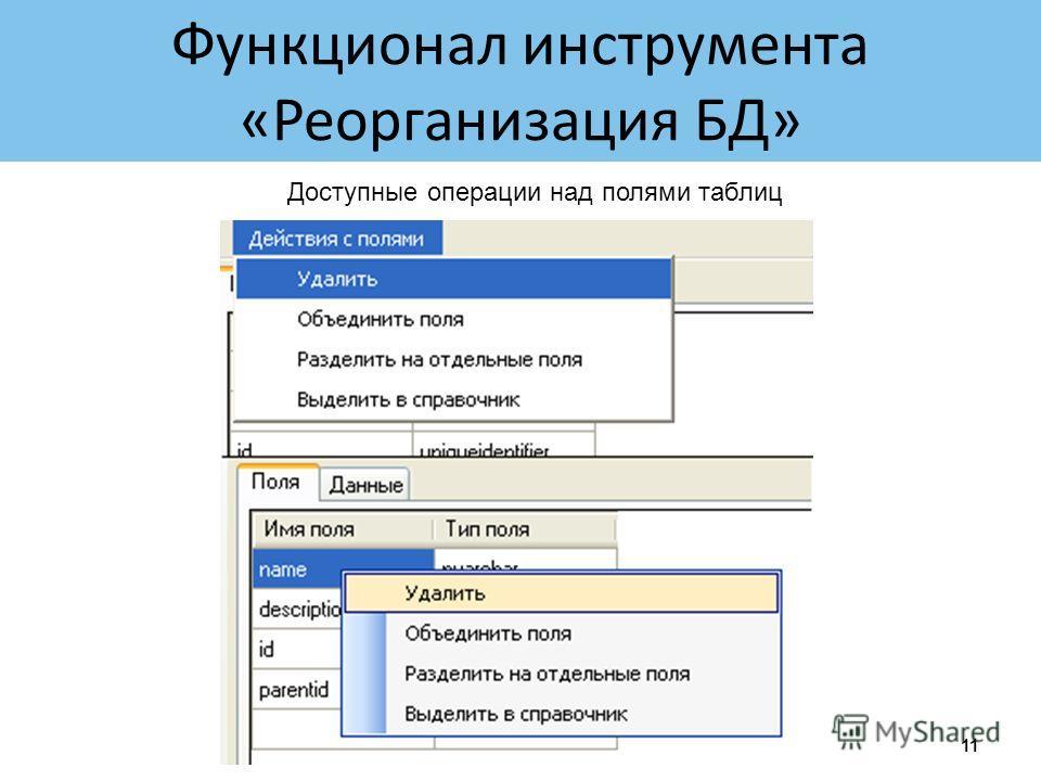 Функционал инструмента «Реорганизация БД» 11 Доступные операции над полями таблиц