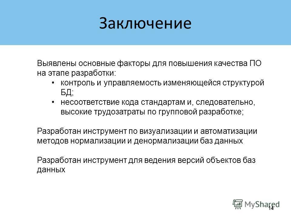 Заключение 14 Выявлены основные факторы для повышения качества ПО на этапе разработки: контроль и управляемость изменяющейся структурой БД; несоответствие кода стандартам и, следовательно, высокие трудозатраты по групповой разработке; Разработан инст