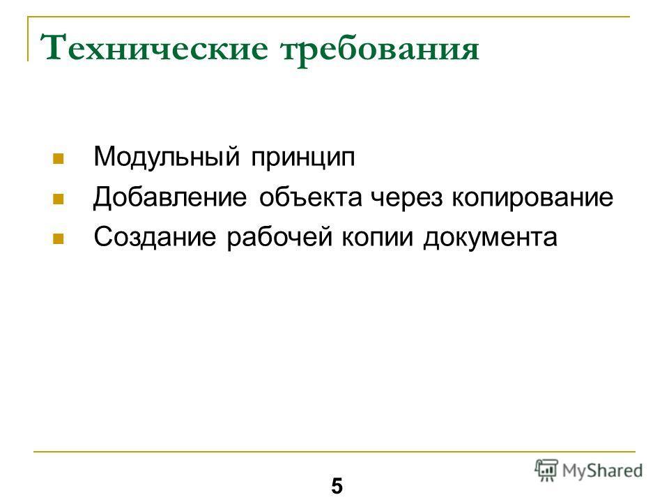 Технические требования Модульный принцип Добавление объекта через копирование Создание рабочей копии документа 5