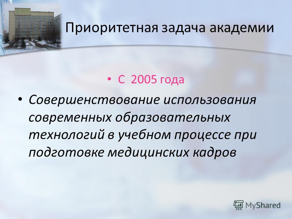 Приоритетная задача академии С 2005 года Совершенствование использования современных образовательных технологий в учебном процессе при подготовке медицинских кадров