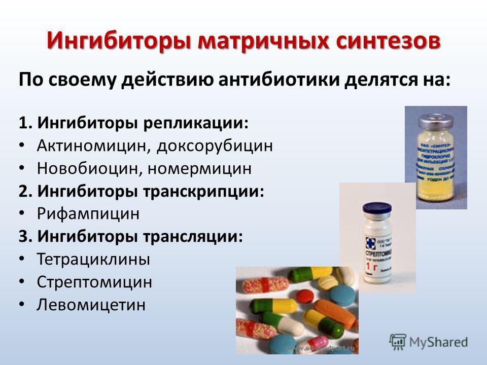 Ингибиторы матричных синтезов По своему действию антибиотики делятся на: 1. Ингибиторы репликации: Актиномицин, доксорубицин Новобиоцин, номермицин 2. Ингибиторы транскрипции: Рифампицин 3. Ингибиторы трансляции: Тетрациклины Стрептомицин Левомицетин