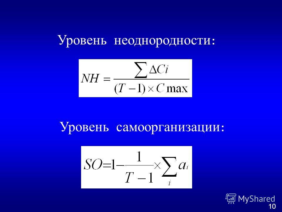 Уровень неоднородности : Уровень самоорганизации : 10