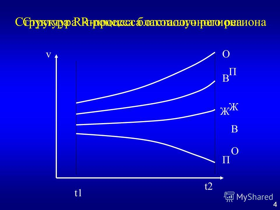 t1 t2 vО В Ж П О В Ж П Структура R-процесса благополучного регионаСтруктура R-процесса отсталого региона 4
