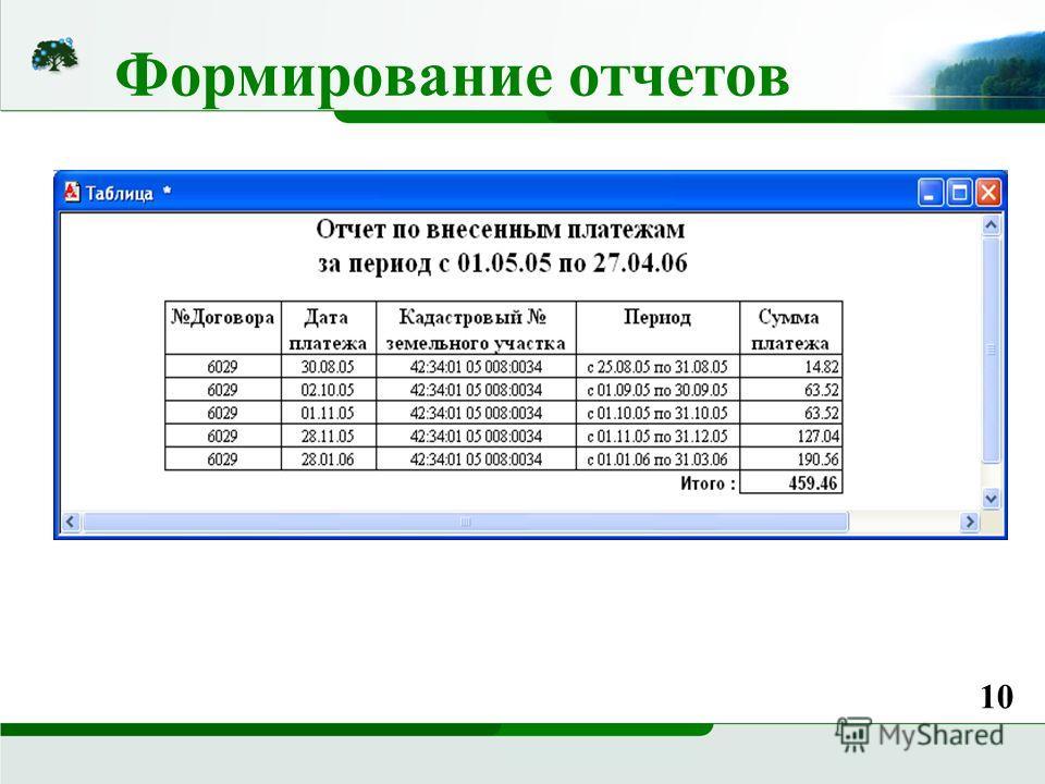 Формирование отчетов 10
