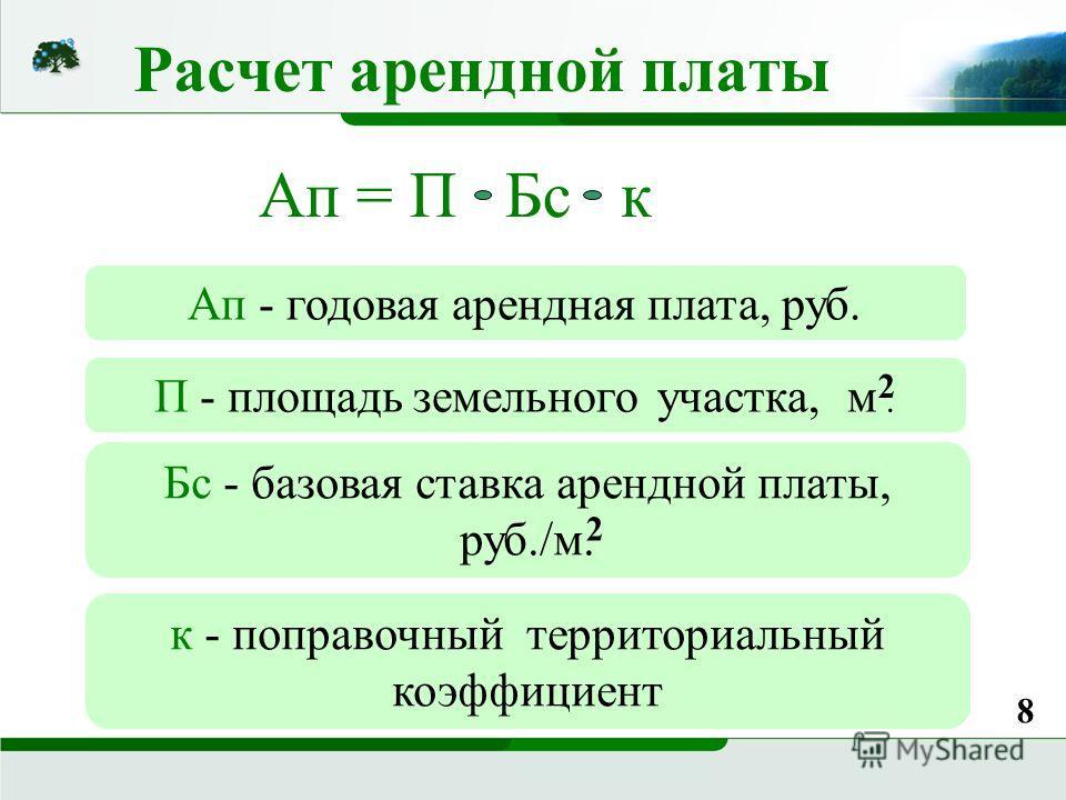 Расчет арендной платы Ап = П Бс к Ап - годовая арендная плата, руб. П - площадь земельного участка, м. Бс - базовая ставка арендной платы, руб./м. к - поправочный территориальный коэффициент 2 8 2
