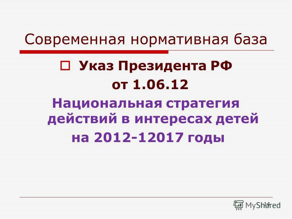 Современная нормативная база Указ Президента РФ от 1.06.12 Национальная стратегия действий в интересах детей на 2012-12017 годы 14