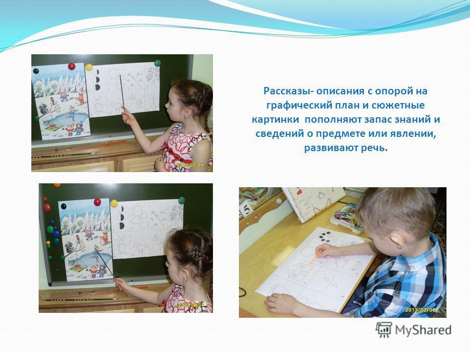Рассказы- описания с опорой на графический план и сюжетные картинки пополняют запас знаний и сведений о предмете или явлении, развивают речь.