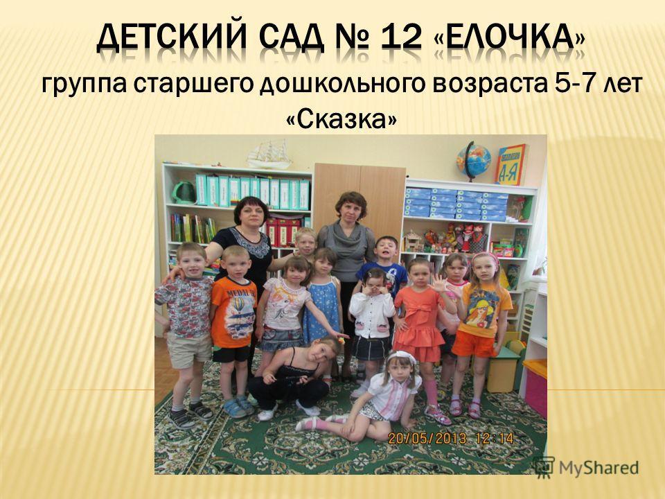 группа старшего дошкольного возраста 5-7 лет «Сказка»