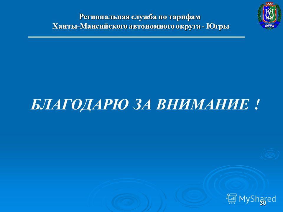 30 Региональная служба по тарифам Ханты-Мансийского автономного округа - Югры Ханты-Мансийского автономного округа - Югры БЛАГОДАРЮ ЗА ВНИМАНИЕ !