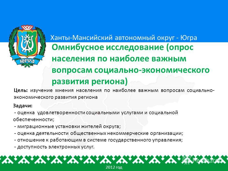Цель: изучение мнения населения по наиболее важным вопросам социально- экономического развития региона Ханты-Мансийский автономный округ - Югра Омнибусное исследование (опрос населения по наиболее важным вопросам социально-экономического развития рег