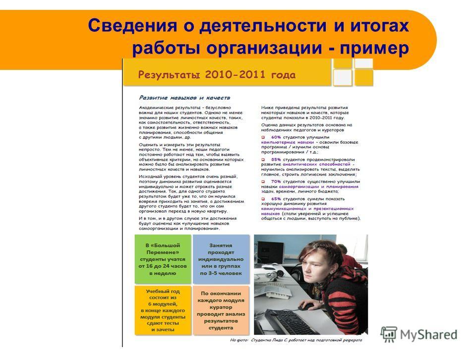 Сведения о деятельности и итогах работы организации - пример