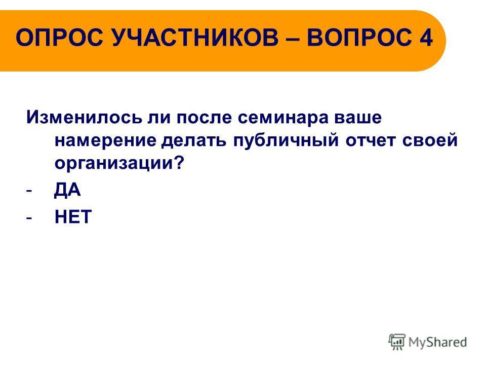 ОПРОС УЧАСТНИКОВ – ВОПРОС 4 Изменилось ли после семинара ваше намерение делать публичный отчет своей организации? -ДА -НЕТ