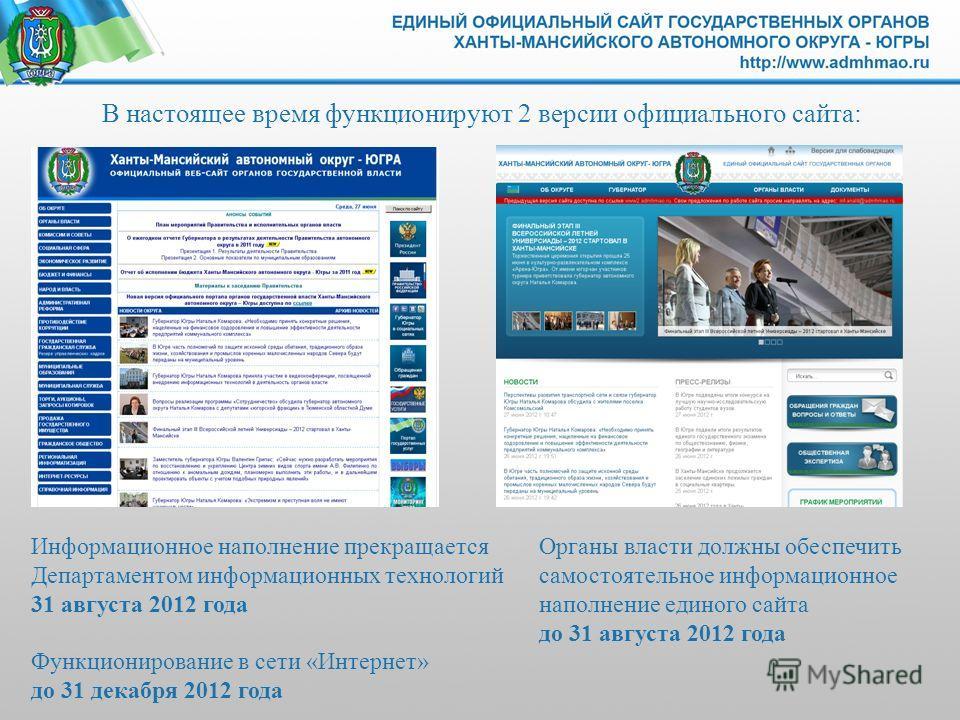 В настоящее время функционируют 2 версии официального сайта: Информационное наполнение прекращается Департаментом информационных технологий 31 августа 2012 года Функционирование в сети «Интернет» до 31 декабря 2012 года Органы власти должны обеспечит