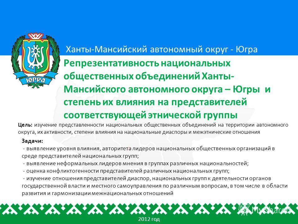Цель: изучение представленности национальных общественных объединений на территории автономного округа, их активности, степени влияния на национальные диаспоры и межэтнические отношения Ханты-Мансийский автономный округ - Югра Репрезентативность наци