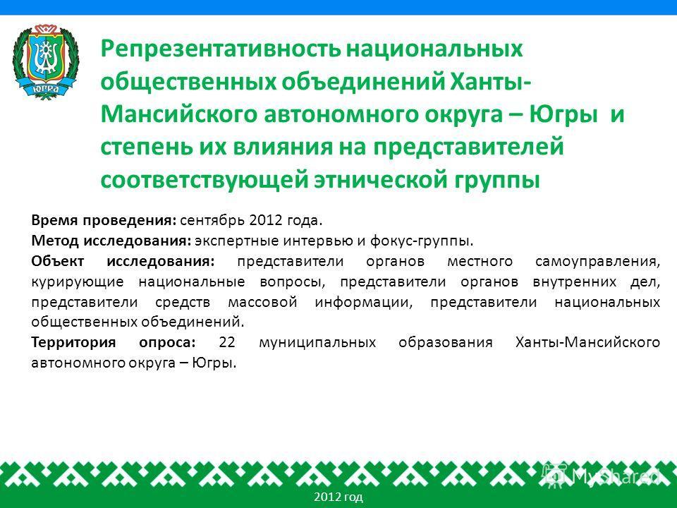 Репрезентативность национальных общественных объединений Ханты- Мансийского автономного округа – Югры и степень их влияния на представителей соответствующей этнической группы 2012 год Время проведения: сентябрь 2012 года. Метод исследования: экспертн