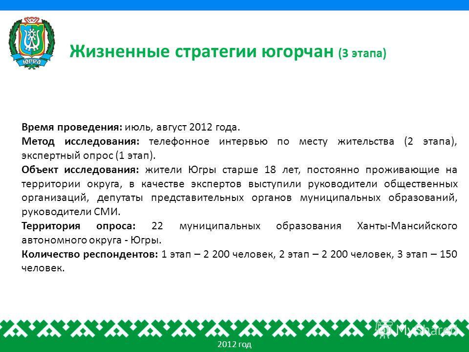 Жизненные стратегии югорчан (3 этапа) 2012 год Время проведения: июль, август 2012 года. Метод исследования: телефонное интервью по месту жительства (2 этапа), экспертный опрос (1 этап). Объект исследования: жители Югры старше 18 лет, постоянно прожи