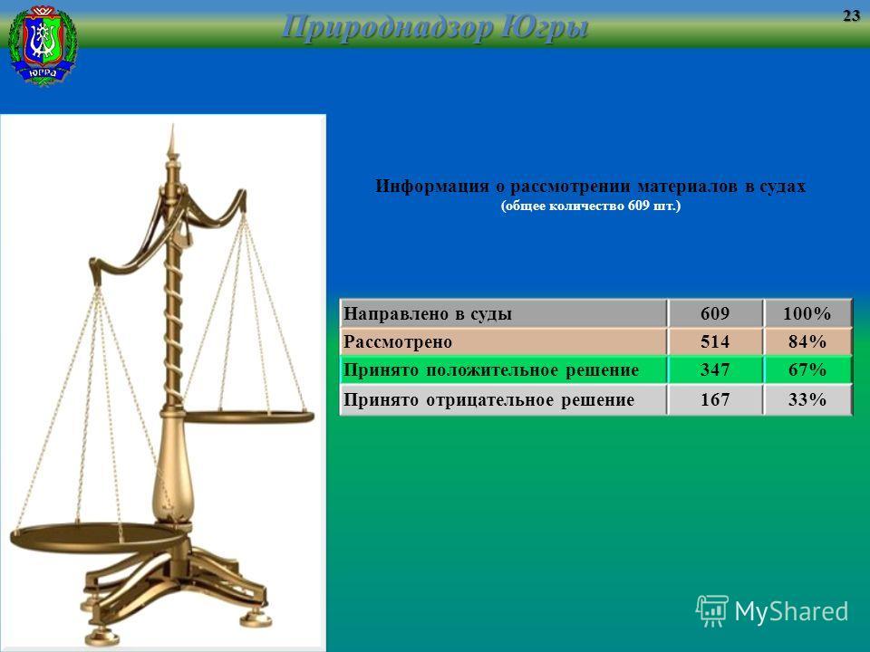 Информация о рассмотрении материалов в судах (общее количество 609 шт.) Направлено в суды609100% Рассмотрено51484% Принято положительное решение34767% Принято отрицательное решение16733% Природнадзор Югры 23