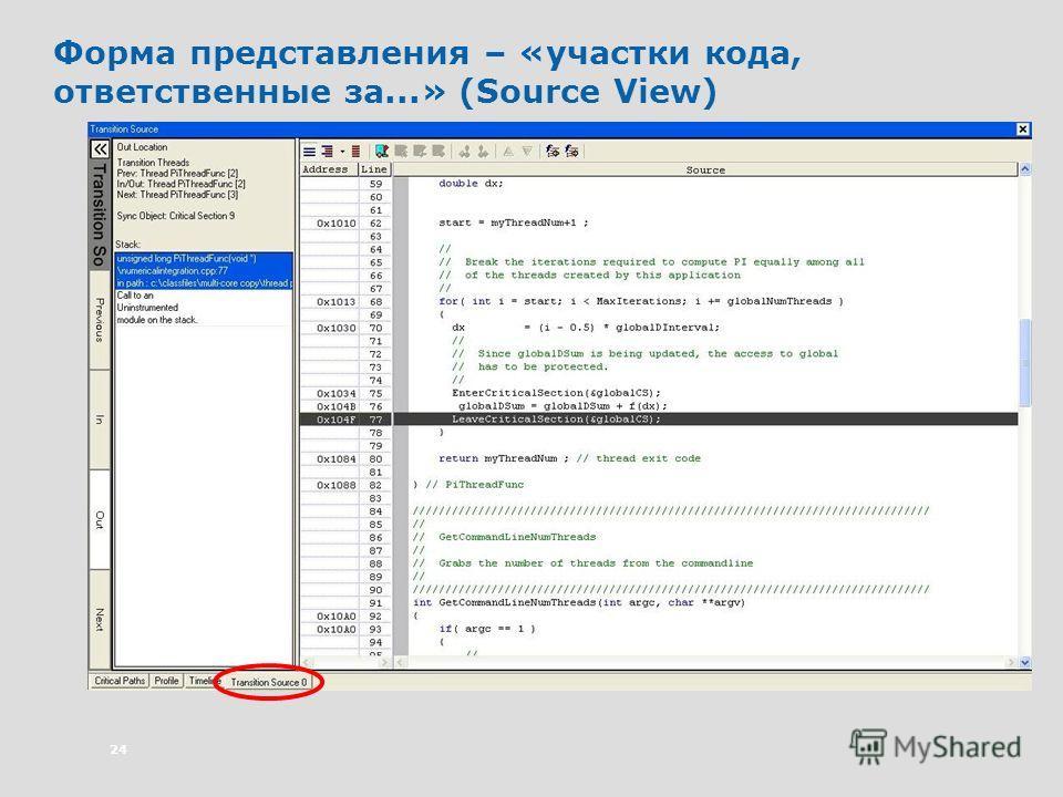 24 Форма представления – «участки кода, ответственные за...» (Source View)