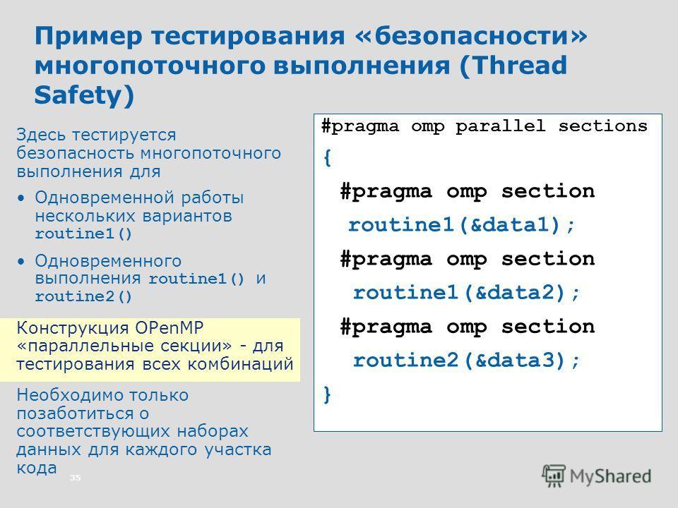 35 Пример тестирования «безопасности» многопоточного выполнения (Thread Safety) Здесь тестируется безопасность многопоточного выполнения для Одновременной работы нескольких вариантов routine1() Одновременного выполнения routine1() и routine2() Констр