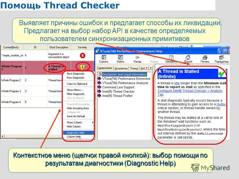 8 Помощь Thread Checker Контекстное меню (щелчок правой кнопкой): выбор помощи по результатам диагностики (Diagnostic Help) Выявляет причины ошибок и предлагает способы их ликвидации. Предлагает на выбор набор API в качестве определяемых пользователе
