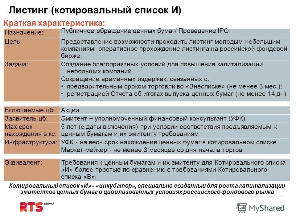 Назначение: Публичное обращение ценных бумаг/ Проведение IPO Цель:Предоставление возможности проходить листинг молодым небольшим компаниям, оперативное прохождение листинга на российской фондовой бирже; Задача:Создание благоприятных условий для повыш