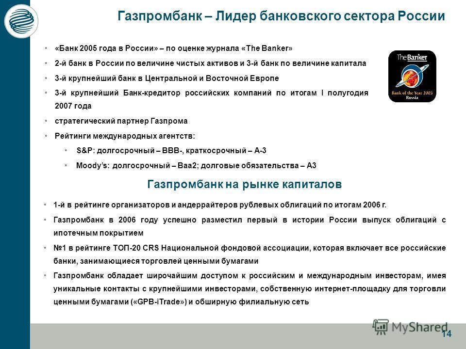 14 «Банк 2005 года в России» – по оценке журнала «The Banker» 2-й банк в России по величине чистых активов и 3-й банк по величине капитала 3-й крупнейший банк в Центральной и Восточной Европе 3-й крупнейший Банк-кредитор российских компаний по итогам