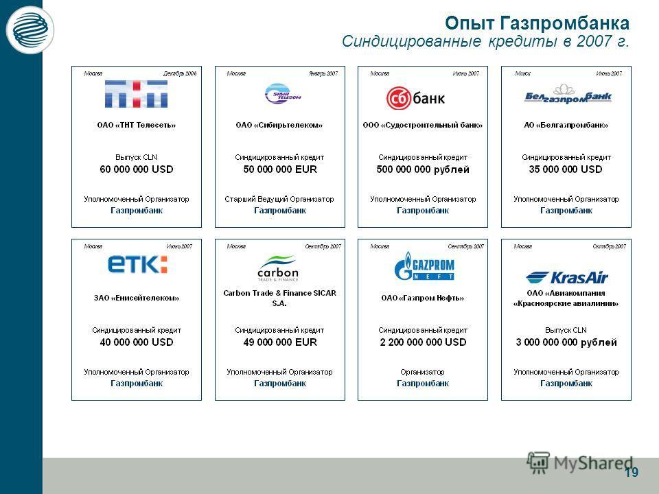 19 Опыт Газпромбанка Синдицированные кредиты в 2007 г.