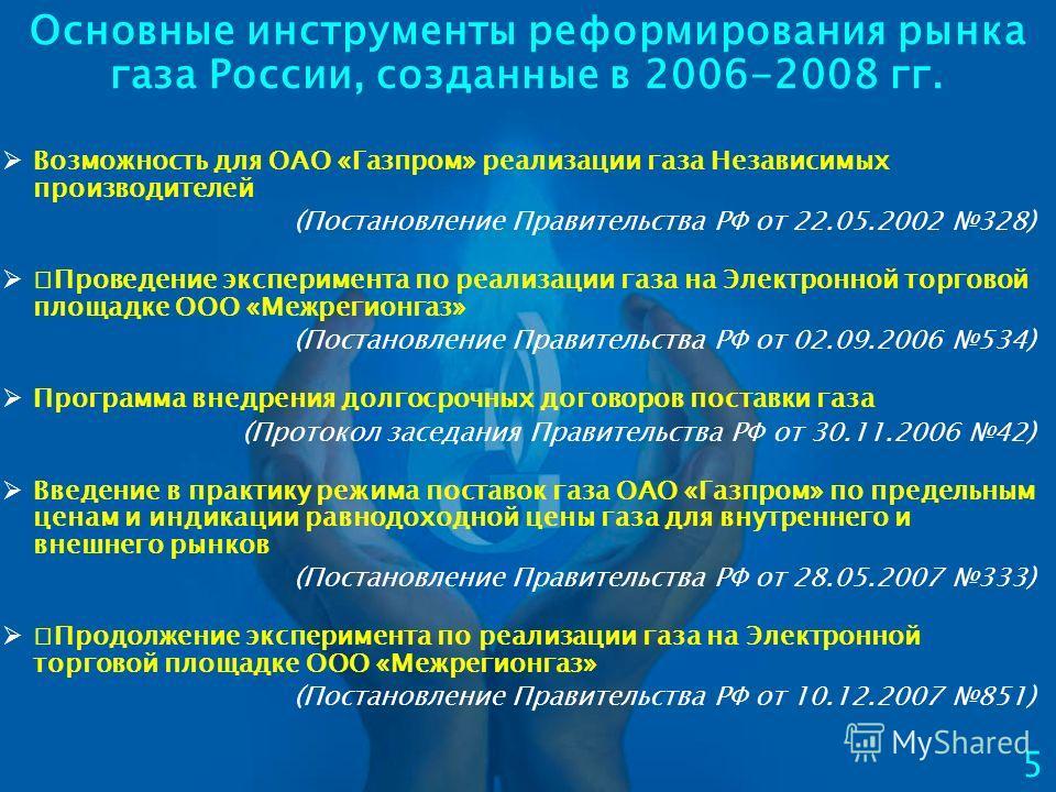Основные инструменты реформирования рынка газа России, созданные в 2006-2008 гг. 5 Возможность для ОАО «Газпром» реализации газа Независимых производителей (Постановление Правительства РФ от 22.05.2002 328) Проведение эксперимента по реализации газа