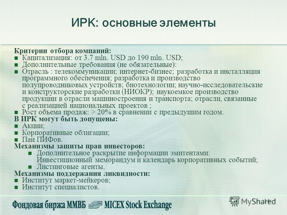 14 ИРК: основные элементы Критерии отбора компаний: Капитализация: от 3.7 mln. USD до 190 mln. USD; Дополнительные требования (не обязательные): Отрасль : телекоммуникации; интернет-бизнес; разработка и инсталляция программного обеспечения; разработк