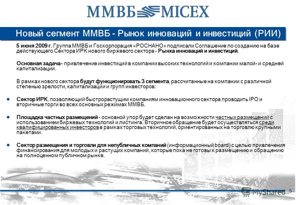 5 Новый сегмент ММВБ - Рынок инноваций и инвестиций (РИИ) 5 июня 2009 г. Группа ММВБ и Госкорпорация «РОСНАНО» подписали Соглашение по созданию на базе действующего Сектора ИРК нового биржевого сектора - Рынка инноваций и инвестиций. Основная задача