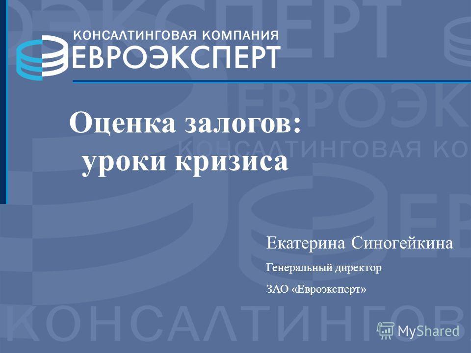 Екатерина Синогейкина Генеральный директор ЗАО «Евроэксперт» Оценка залогов: уроки кризиса