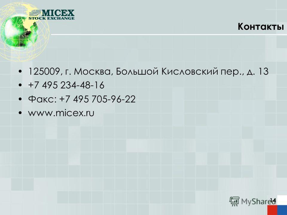 14 Контакты 125009, г. Москва, Большой Кисловский пер., д. 13 +7 495 234-48-16 Факс: +7 495 705-96-22 www.micex.ru