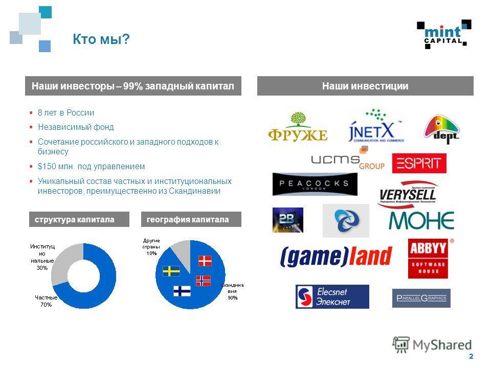 2 Наши инвесторы – 99% западный капитал структура капитала 8 лет в России Независимый фонд Сочетание российского и западного подходов к бизнесу $150 млн. под управлением Уникальный состав частных и институциональных инвесторов, преимущественно из Ска