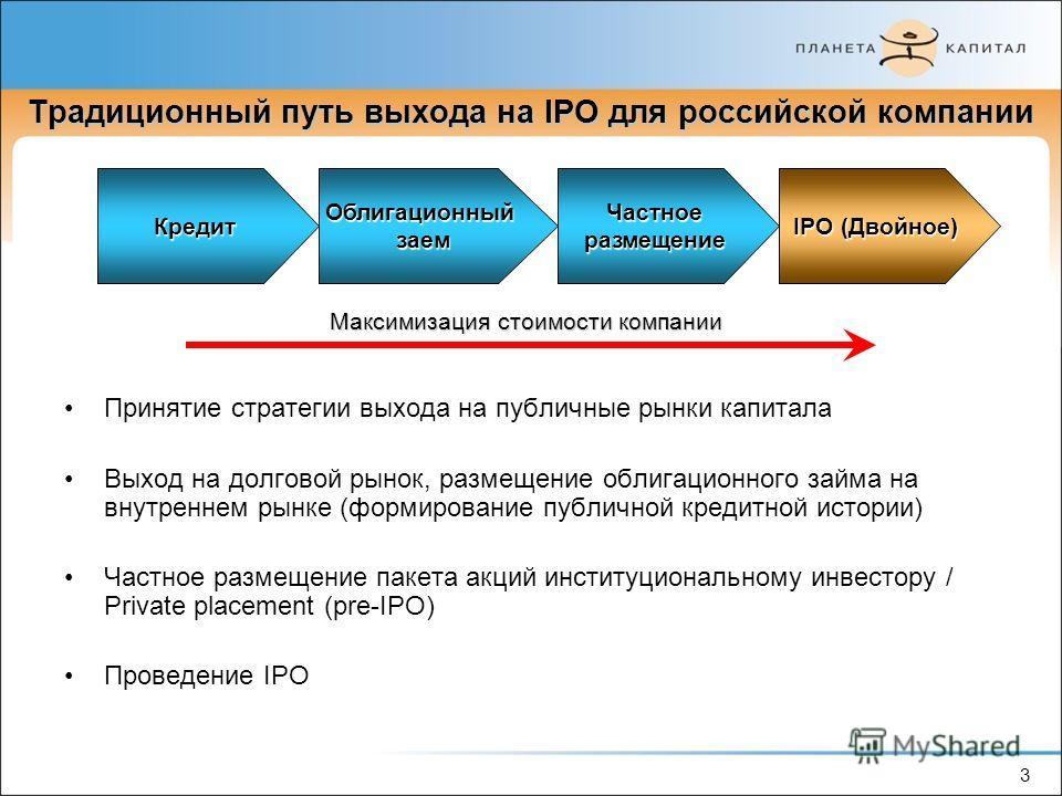 3 Традиционный путь выхода на IPO для российской компании КредитОблигационныйзаемЧастноеразмещение IPO (Двойное) Максимизация стоимости компании 3 Принятие стратегии выхода на публичные рынки капитала Выход на долговой рынок, размещение облигационног