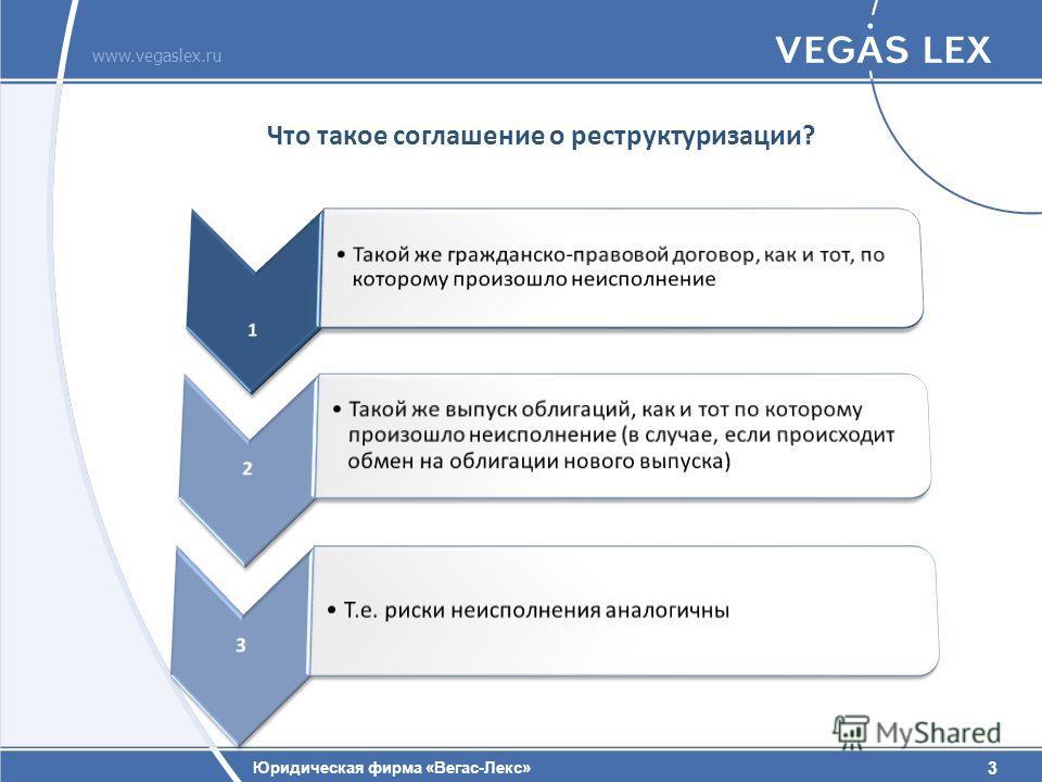 3 Юридическая фирма «Вегас-Лекс» www.vegaslex.ru 3 Что такое соглашение о реструктуризации?