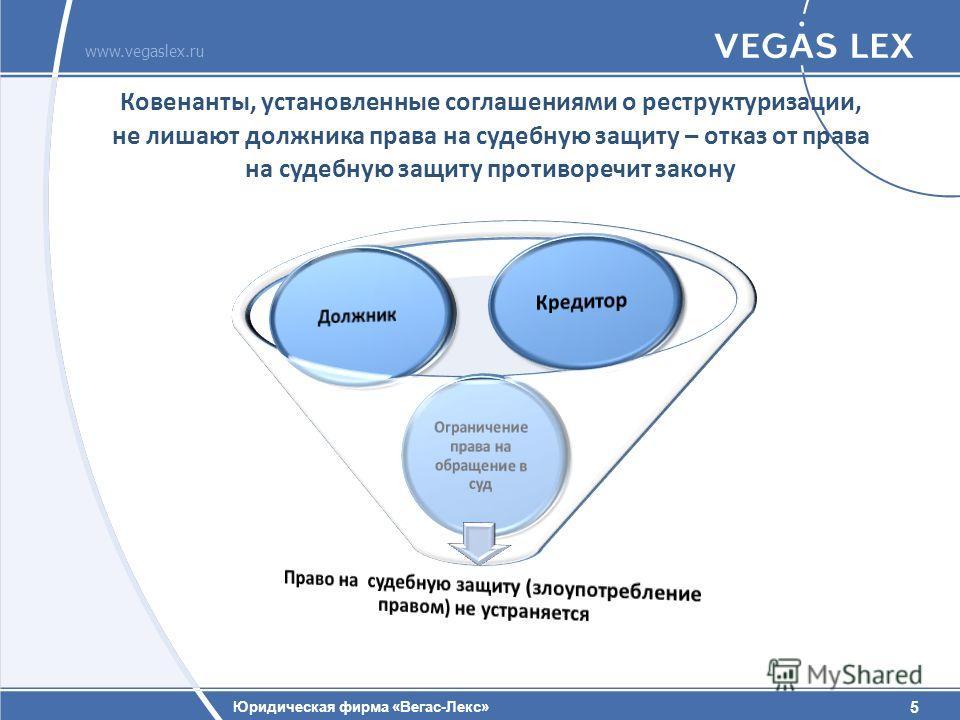 5 Юридическая фирма «Вегас-Лекс» www.vegaslex.ru 5 Ковенанты, установленные соглашениями о реструктуризации, не лишают должника права на судебную защиту – отказ от права на судебную защиту противоречит закону