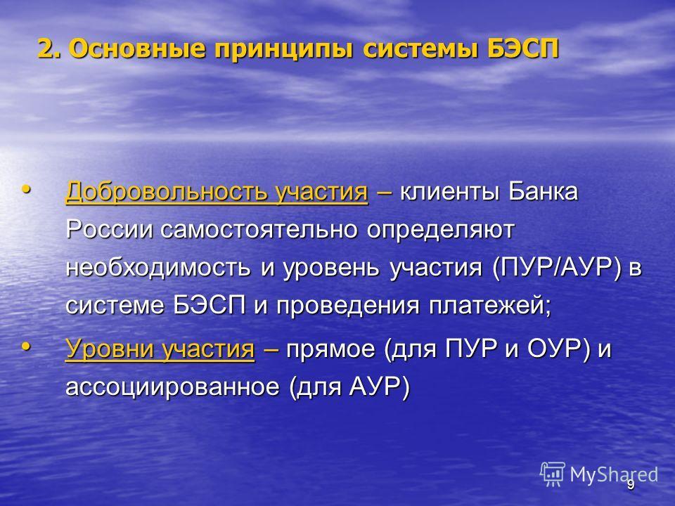 9 Добровольность участия – клиенты Банка России самостоятельно определяют необходимость и уровень участия (ПУР/АУР) в системе БЭСП и проведения платежей; Добровольность участия – клиенты Банка России самостоятельно определяют необходимость и уровень
