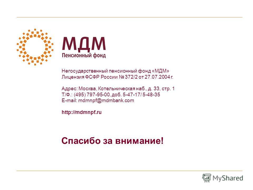 Спасибо за внимание! Негосударственный пенсионный фонд «МДМ» Лицензия ФСФР России 372/2 от 27.07.2004 г. Адрес: Москва, Котельническая наб., д. 33, стр. 1 Т/Ф.: (495) 797-95-00, доб. 5-47-17/ 5-48-35 E-mail: mdmnpf@mdmbank.com http://mdmnpf.ru
