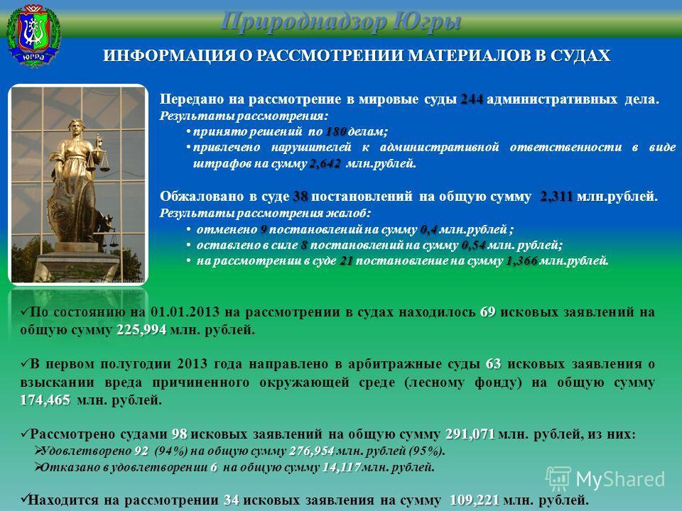 ИНФОРМАЦИЯ О РАССМОТРЕНИИ МАТЕРИАЛОВ В СУДАХ Природнадзор Югры 69 225,994 По состоянию на 01.01.2013 на рассмотрении в судах находилось 69 исковых заявлений на общую сумму 225,994 млн. рублей. 63 174,465 В первом полугодии 2013 года направлено в арби