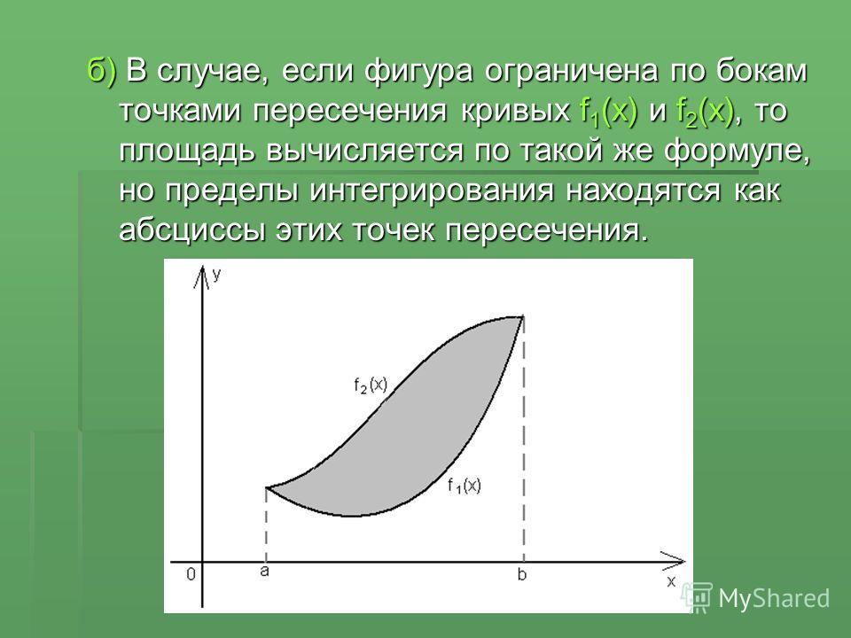 б) В случае, если фигура ограничена по бокам точками пересечения кривых f 1 (x) и f 2 (x), то площадь вычисляется по такой же формуле, но пределы интегрирования находятся как абсциссы этих точек пересечения.